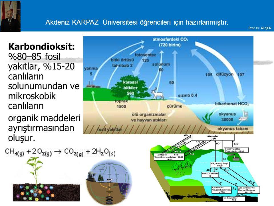 Akdeniz KARPAZ Üniversitesi öğrencileri için hazırlanmıştır. Prof. Dr. Ali ŞEN Karbondioksit: %80–85 fosil yakıtlar, %15-20 canlıların solunumundan ve