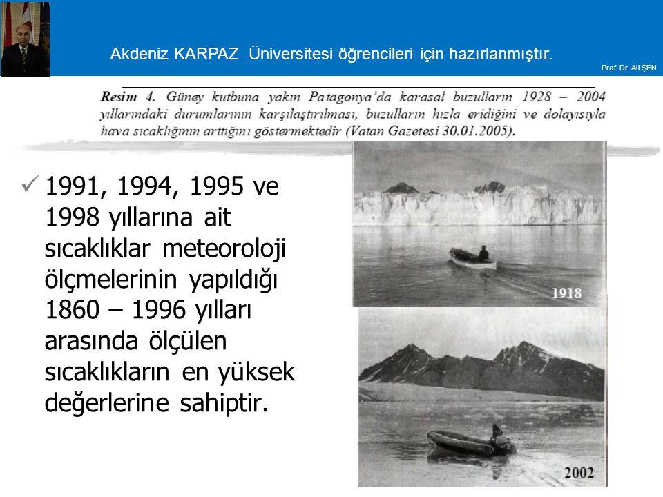 Akdeniz KARPAZ Üniversitesi öğrencileri için hazırlanmıştır. Prof. Dr. Ali ŞEN 1991, 1994, 1995 ve 1998 yıllarına ait sıcaklıklar meteoroloji ölçmeler