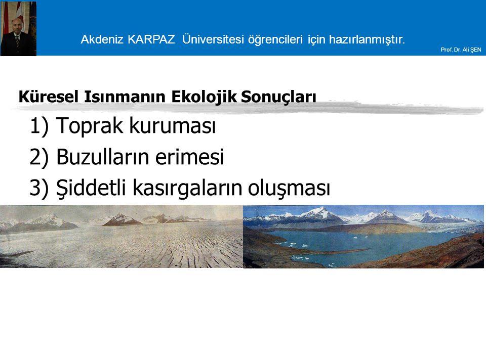 Akdeniz KARPAZ Üniversitesi öğrencileri için hazırlanmıştır. Prof. Dr. Ali ŞEN Küresel Isınmanın Ekolojik Sonuçları 1) Toprak kuruması 2) Buzulların e