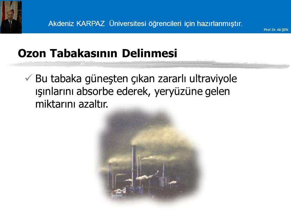 Akdeniz KARPAZ Üniversitesi öğrencileri için hazırlanmıştır. Prof. Dr. Ali ŞEN Ozon Tabakasının Delinmesi Bu tabaka güneşten çıkan zararlı ultraviyole