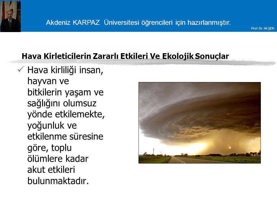 Akdeniz KARPAZ Üniversitesi öğrencileri için hazırlanmıştır. Prof. Dr. Ali ŞEN Hava Kirleticilerin Zararlı Etkileri Ve Ekolojik Sonuçlar Hava kirliliğ