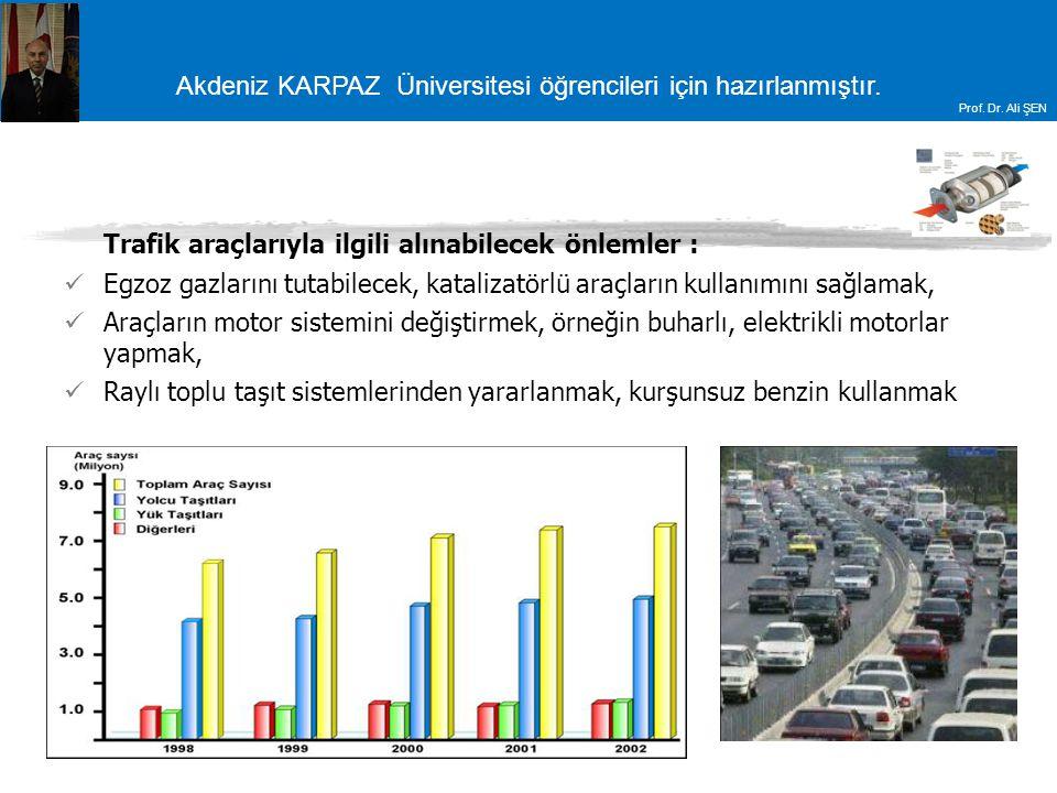 Akdeniz KARPAZ Üniversitesi öğrencileri için hazırlanmıştır. Prof. Dr. Ali ŞEN Trafik araçlarıyla ilgili alınabilecek önlemler : Egzoz gazlarını tutab