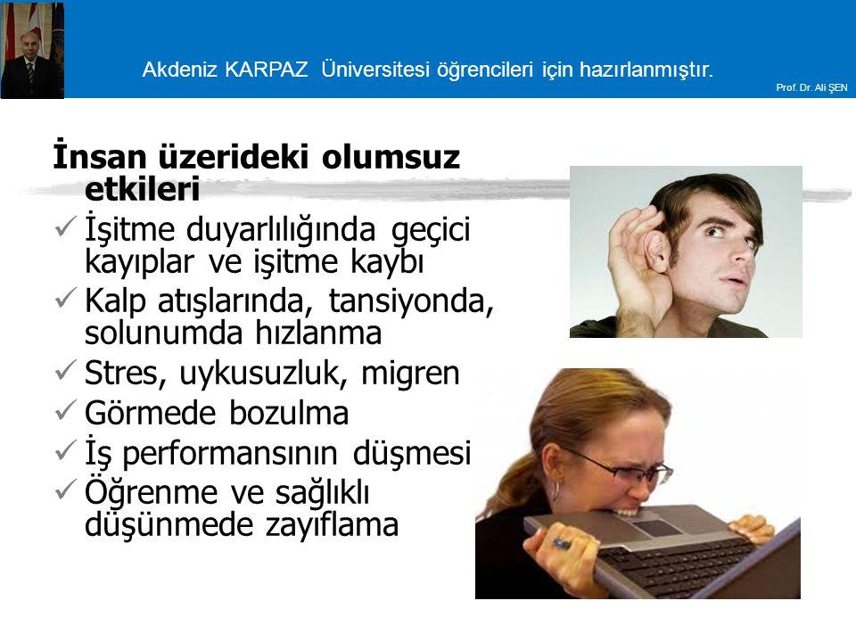 Akdeniz KARPAZ Üniversitesi öğrencileri için hazırlanmıştır. Prof. Dr. Ali ŞEN İnsan üzerideki olumsuz etkileri İşitme duyarlılığında geçici kayıplar