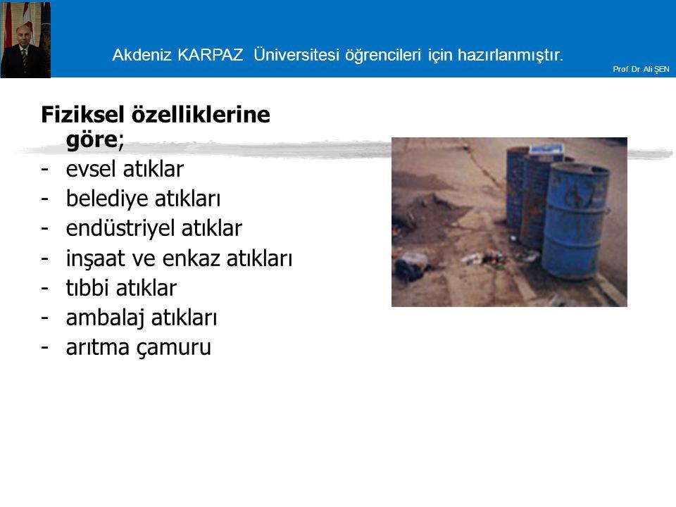 Akdeniz KARPAZ Üniversitesi öğrencileri için hazırlanmıştır. Prof. Dr. Ali ŞEN Fiziksel özelliklerine göre; -evsel atıklar -belediye atıkları -endüstr