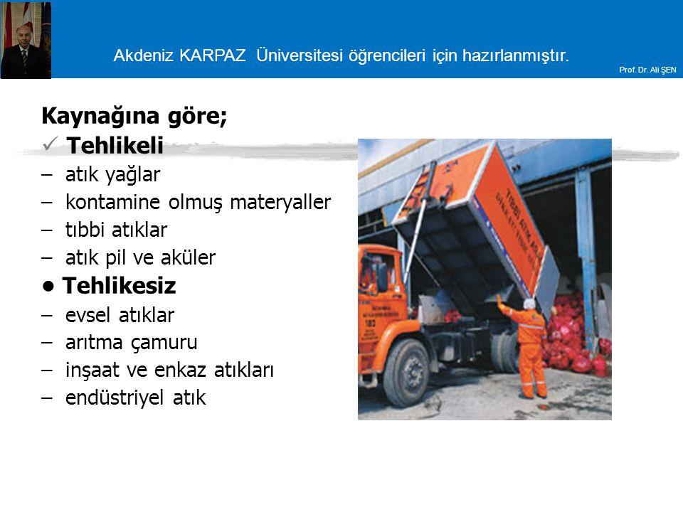 Akdeniz KARPAZ Üniversitesi öğrencileri için hazırlanmıştır. Prof. Dr. Ali ŞEN Kaynağına göre; Tehlikeli – atık yağlar – kontamine olmuş materyaller –