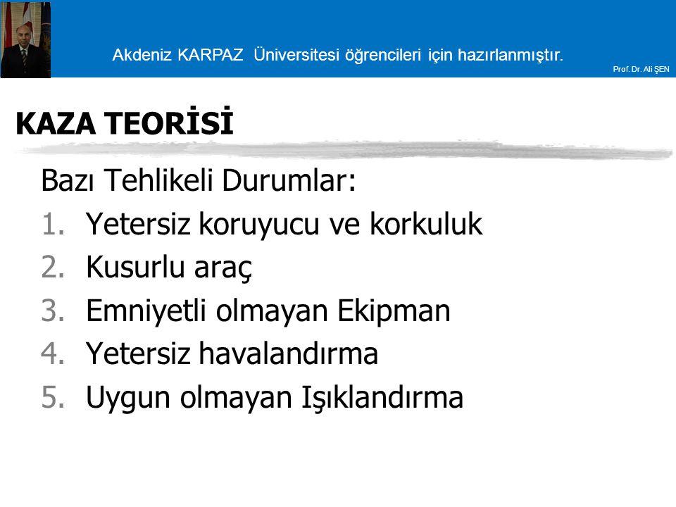 Akdeniz KARPAZ Üniversitesi öğrencileri için hazırlanmıştır. Prof. Dr. Ali ŞEN KAZA TEORİSİ Bazı Tehlikeli Durumlar: 1.Yetersiz koruyucu ve korkuluk 2