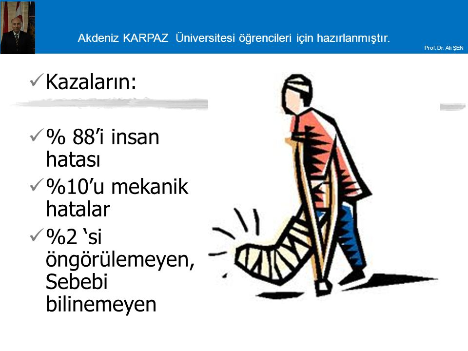 Akdeniz KARPAZ Üniversitesi öğrencileri için hazırlanmıştır. Prof. Dr. Ali ŞEN Kazaların: % 88'i insan hatası %10'u mekanik hatalar %2 'si öngörülemey