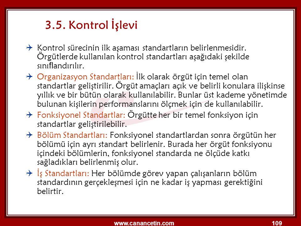 www.canancetin.com109 3.5. Kontrol İşlevi  Kontrol sürecinin ilk aşaması standartların belirlenmesidir. Örgütlerde kullanılan kontrol standartları aş