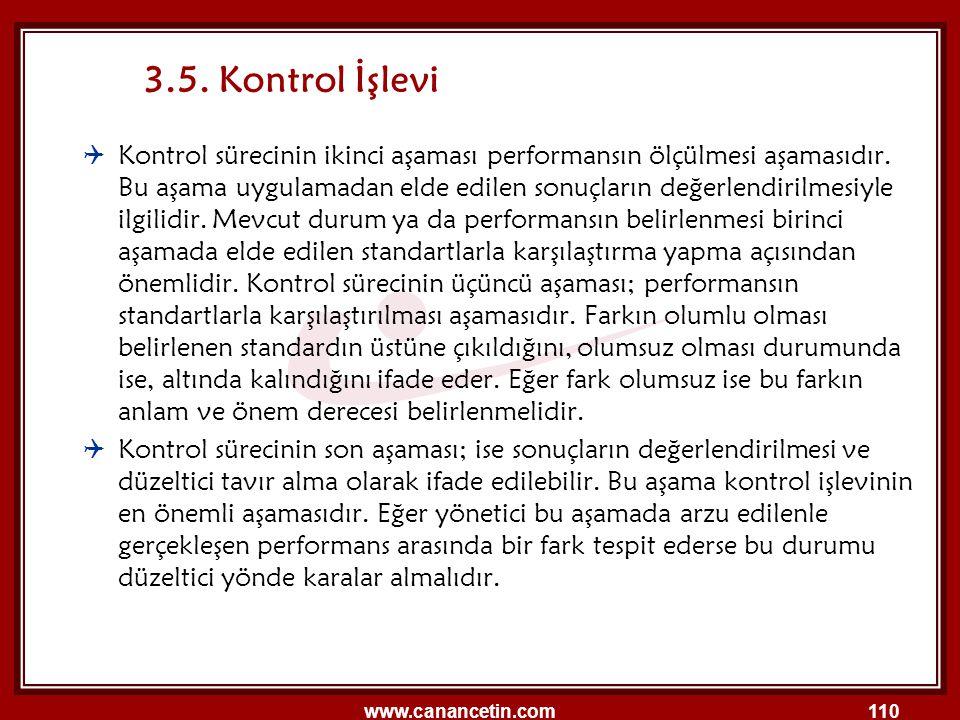 www.canancetin.com110 3.5. Kontrol İşlevi  Kontrol sürecinin ikinci aşaması performansın ölçülmesi aşamasıdır. Bu aşama uygulamadan elde edilen sonuç