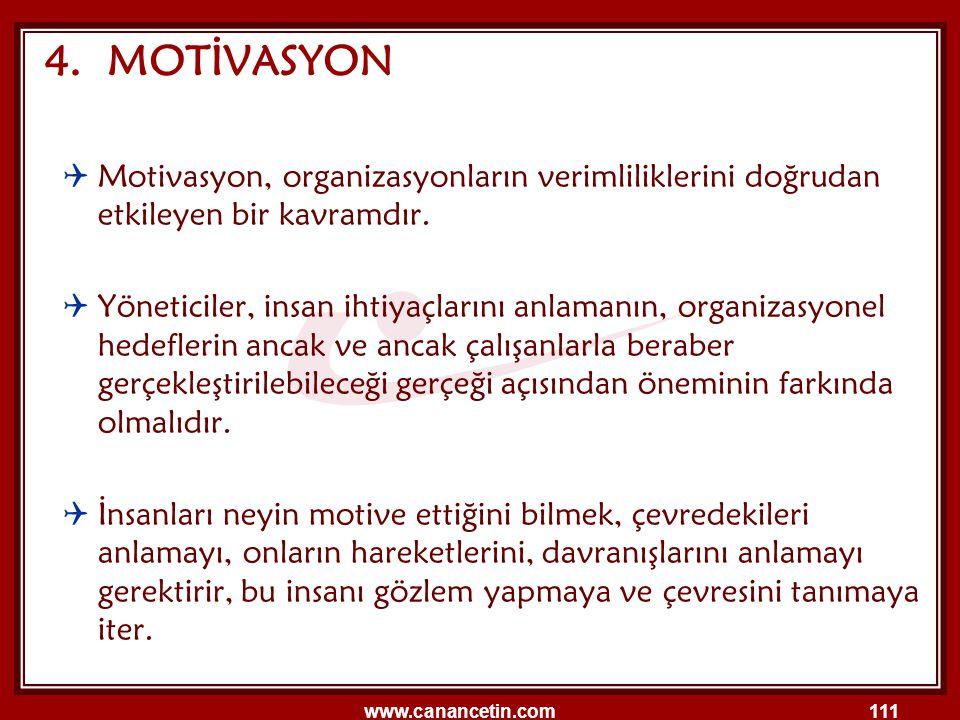 www.canancetin.com111 4. MOTİVASYON  Motivasyon, organizasyonların verimliliklerini doğrudan etkileyen bir kavramdır.  Yöneticiler, insan ihtiyaçlar