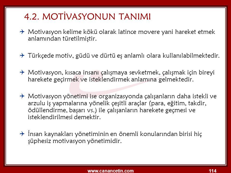 www.canancetin.com114  Motivasyon kelime kökü olarak latince movere yani hareket etmek anlamından türetilmiştir.  Türkçede motiv, güdü ve dürtü eş a