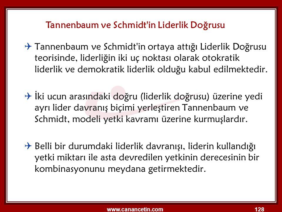 www.canancetin.com128  Tannenbaum ve Schmidt'in ortaya attığı Liderlik Doğrusu teorisinde, liderliğin iki uç noktası olarak otokratik liderlik ve dem