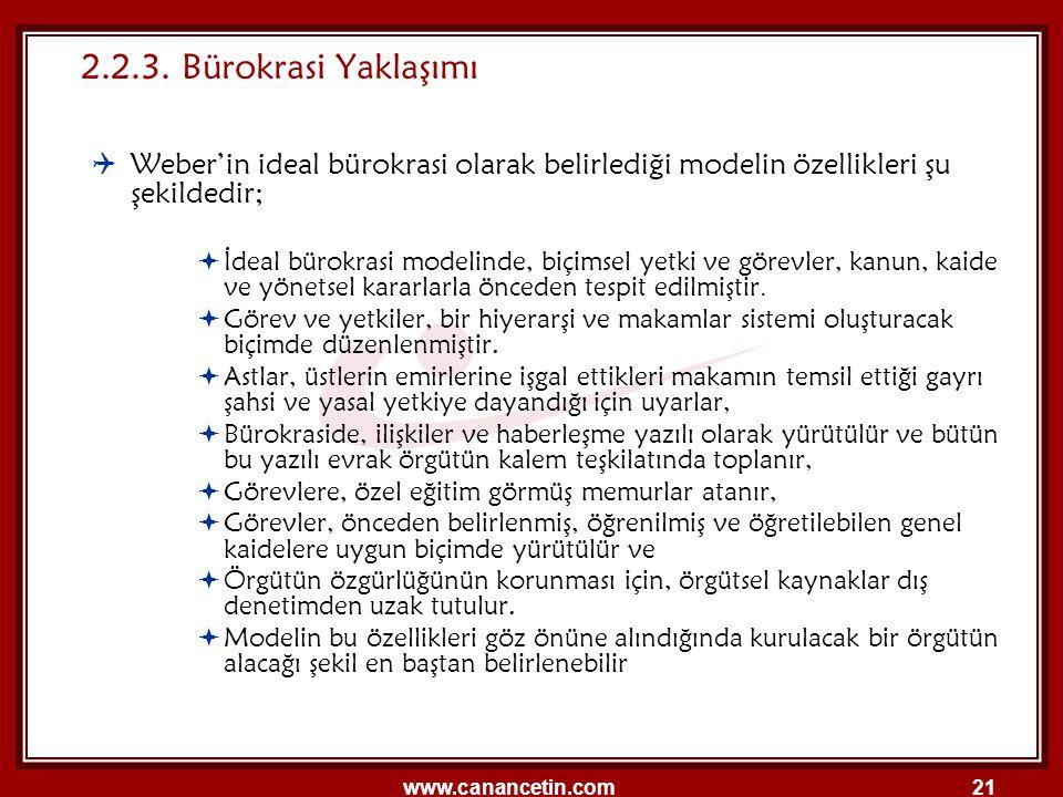 www.canancetin.com21 2.2.3. Bürokrasi Yaklaşımı  Weber'in ideal bürokrasi olarak belirlediği modelin özellikleri şu şekildedir;  İdeal bürokrasi mod