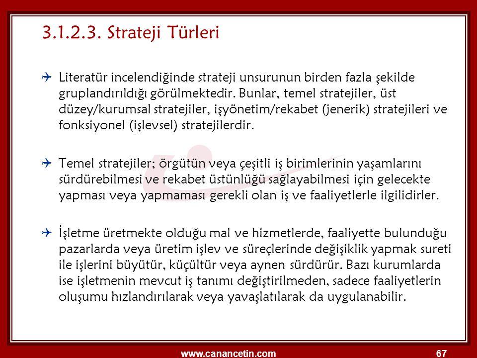 www.canancetin.com67 3.1.2.3. Strateji Türleri  Literatür incelendiğinde strateji unsurunun birden fazla şekilde gruplandırıldığı görülmektedir. Bunl