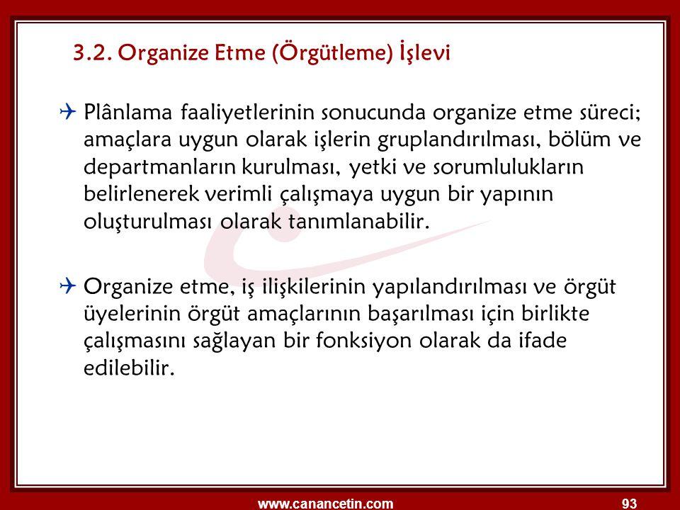 www.canancetin.com93 3.2. Organize Etme (Örgütleme) İşlevi  Plânlama faaliyetlerinin sonucunda organize etme süreci; amaçlara uygun olarak işlerin gr