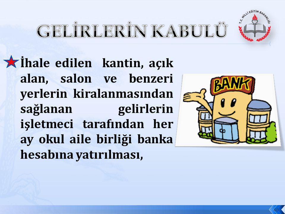 Hayırseverlerin ve öğrenci velilerinin bağışladıkları paraların okul aile birliği banka hesabına yatırılması ya da nakdi bağış alındı belgesi (EK-1) karşılığı okul aile birliğine teslim edilmesi.