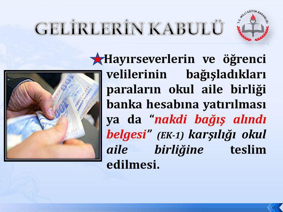 """Hayırseverlerin ve öğrenci velilerinin bağışladıkları paraların okul aile birliği banka hesabına yatırılması ya da """"nakdi bağış alındı belgesi"""" (EK-1)"""