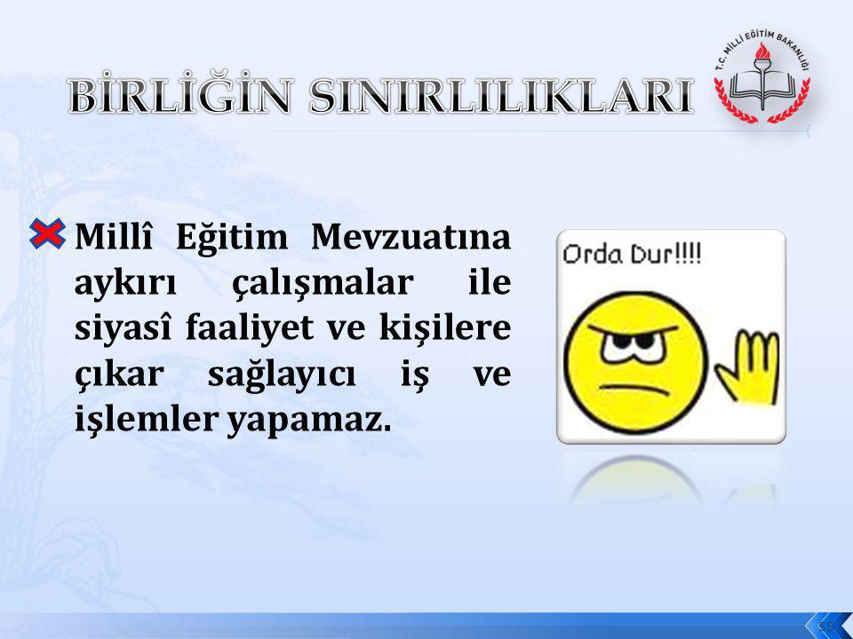 56 Okul Aile Birliği, en az iki yılda bir olmak üzere Bakanlık/valilik veya il/ilçe millî eğitim müdürlüklerince millî eğitim mevzuatına ve Türk Ceza Kanunu hükümlerine göre denetlenir.