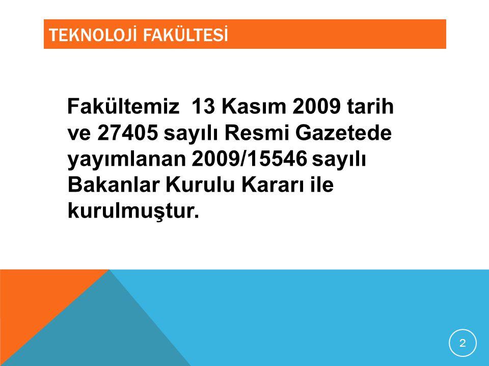 TEKNOLOJİ FAKÜLTESİ Fakültemiz 13 Kasım 2009 tarih ve 27405 sayılı Resmi Gazetede yayımlanan 2009/15546 sayılı Bakanlar Kurulu Kararı ile kurulmuştur.