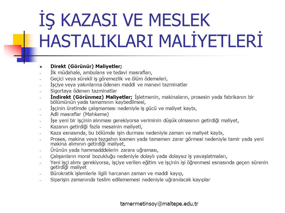 İŞ KAZASI VE MESLEK HASTALIKLARI MALİYETLERİ Direkt (Görünür) Maliyetler; İlk müdahale, ambulans ve tedavi masrafları, Geçici veya sürekli iş göremezl