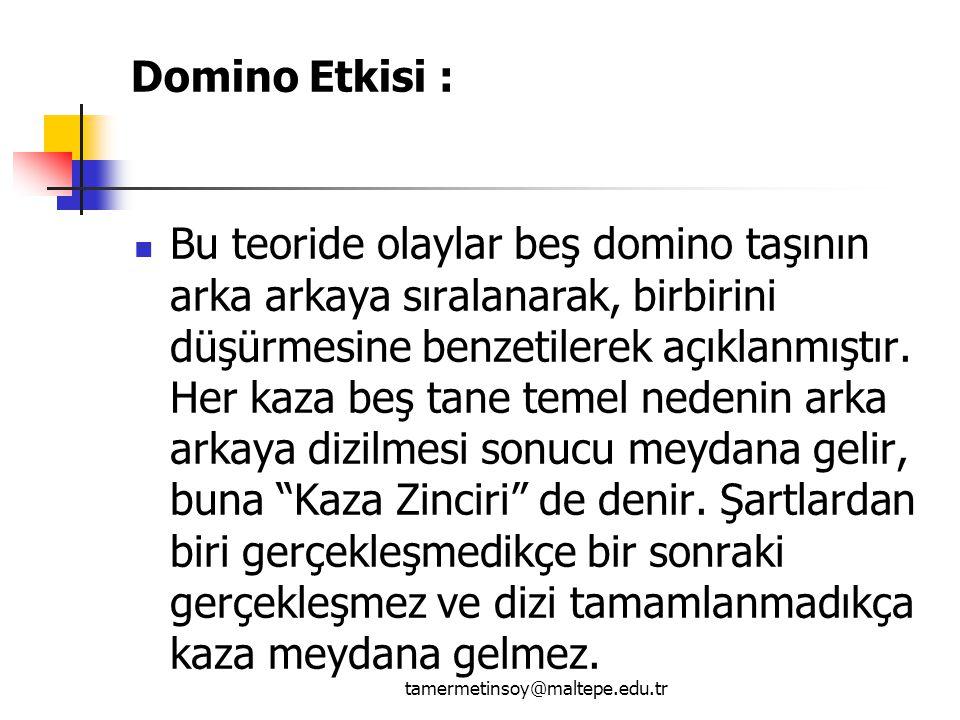 Domino Etkisi : Bu teoride olaylar beş domino taşının arka arkaya sıralanarak, birbirini düşürmesine benzetilerek açıklanmıştır.