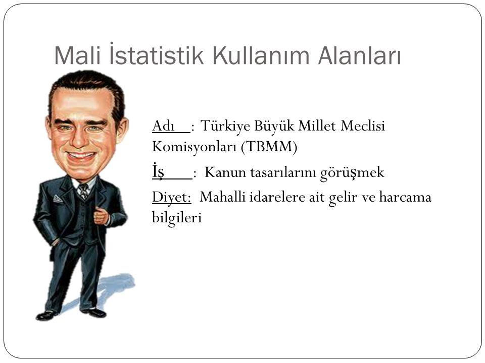 Mali İstatistik Kullanım Alanları Adı : Türkiye Büyük Millet Meclisi Komisyonları (TBMM) İş : Kanun tasarılarını görü ş mek Diyet: Mahalli idarelere a