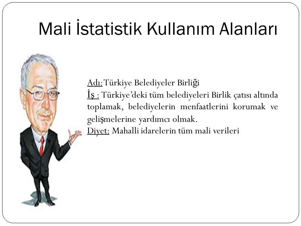 Mali İstatistik Kullanım Alanları Adı: Türkiye Belediyeler Birli ğ i İş : Türkiye'deki tüm belediyeleri Birlik çatısı altında toplamak, belediyelerin