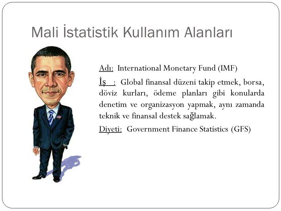 Mali İstatistik Kullanım Alanları Adı: International Monetary Fund (IMF) İş : Global finansal düzeni takip etmek, borsa, döviz kurları, ödeme planları