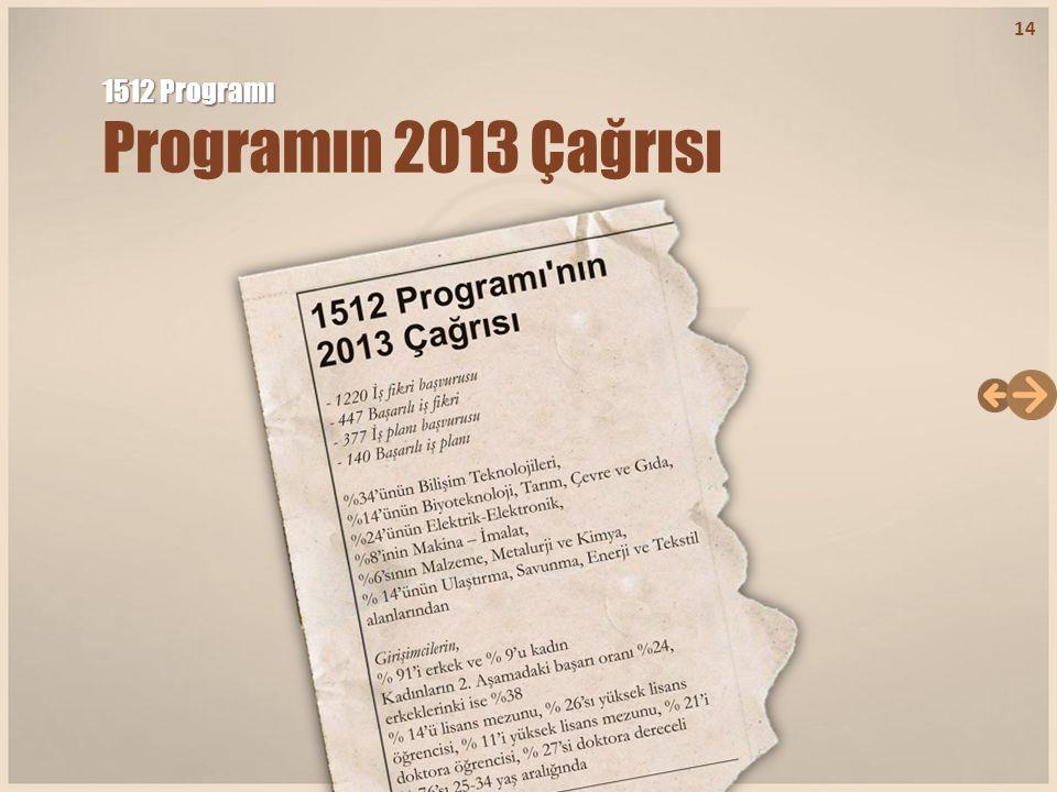 1512 Programı 1512 Programı Programın 2013 Çağrısı 14