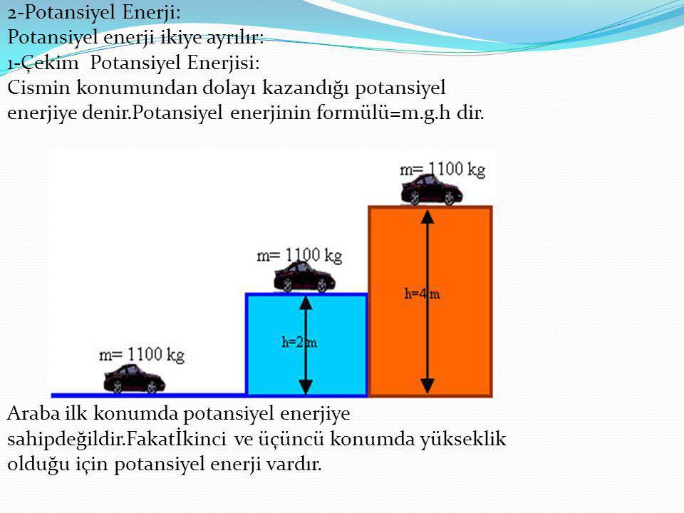 2-Esneklik Potansiyel Enerjisi: *Esneklik potansiyel enerjisi sıkıştırma veya gerilme miktarına ve maddenin esneklik özelliğine bağlıdır.