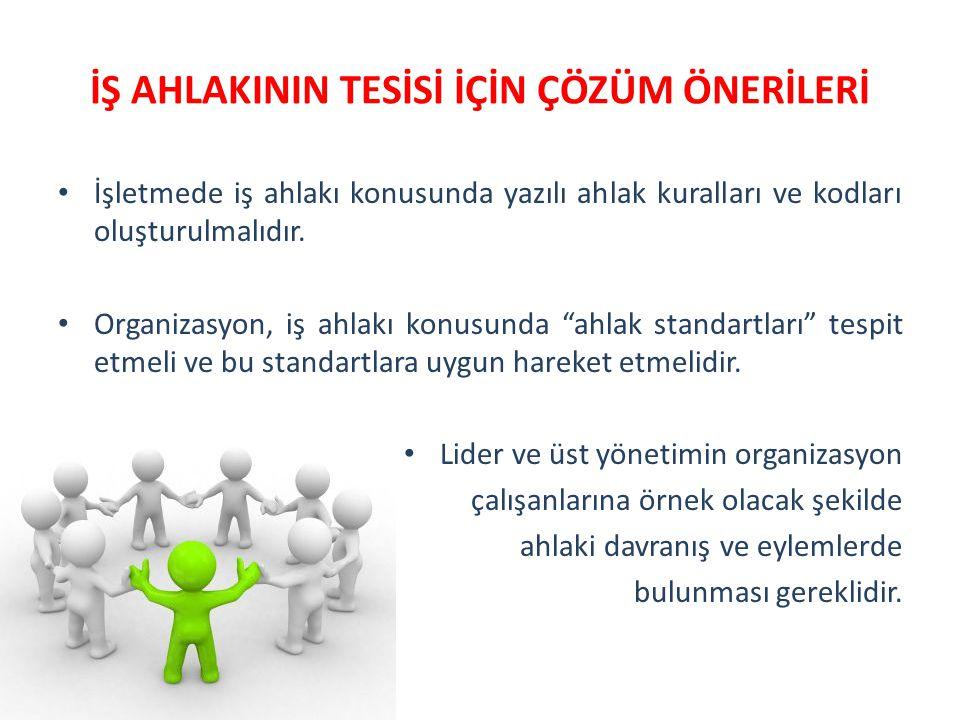 İŞ AHLAKININ TESİSİ İÇİN ÇÖZÜM ÖNERİLERİ İşletmede iş ahlakı konusunda yazılı ahlak kuralları ve kodları oluşturulmalıdır. Organizasyon, iş ahlakı kon