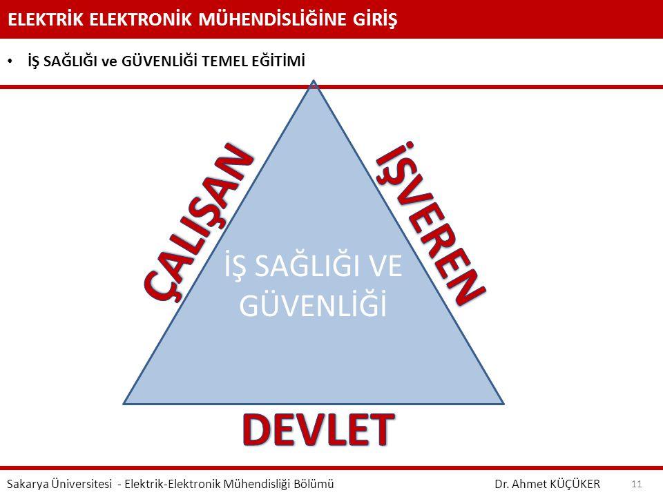 ELEKTRİK ELEKTRONİK MÜHENDİSLİĞİNE GİRİŞ Dr. Ahmet KÜÇÜKER Sakarya Üniversitesi - Elektrik-Elektronik Mühendisliği Bölümü 11 İŞ SAĞLIĞI ve GÜVENLİĞİ T