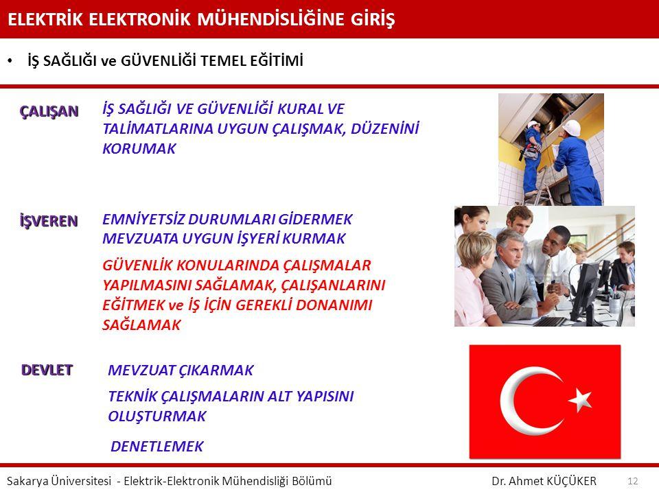 ELEKTRİK ELEKTRONİK MÜHENDİSLİĞİNE GİRİŞ Dr. Ahmet KÜÇÜKER Sakarya Üniversitesi - Elektrik-Elektronik Mühendisliği Bölümü 12 İŞ SAĞLIĞI ve GÜVENLİĞİ T
