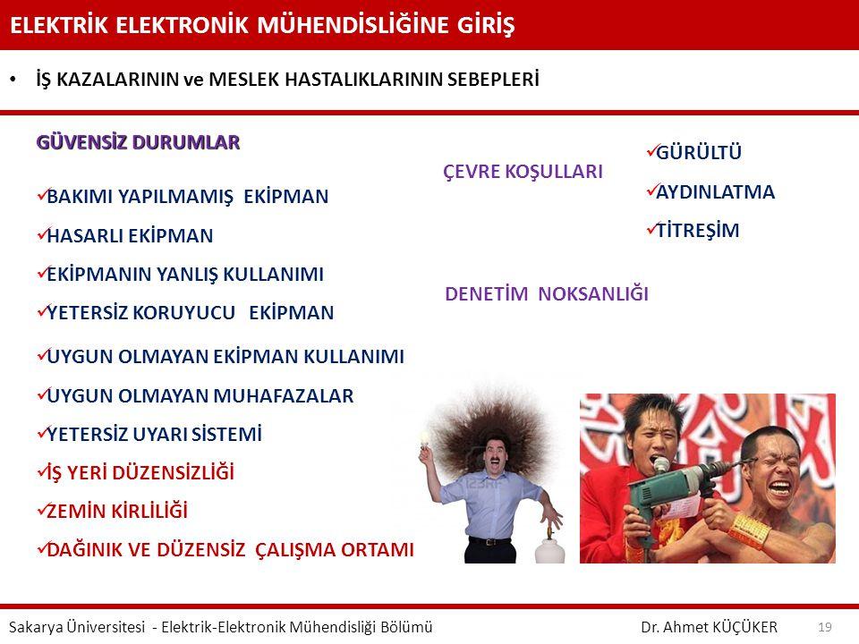 ELEKTRİK ELEKTRONİK MÜHENDİSLİĞİNE GİRİŞ Dr. Ahmet KÜÇÜKER Sakarya Üniversitesi - Elektrik-Elektronik Mühendisliği Bölümü 19 İŞ KAZALARININ ve MESLEK