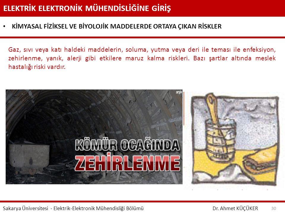 ELEKTRİK ELEKTRONİK MÜHENDİSLİĞİNE GİRİŞ Dr. Ahmet KÜÇÜKER Sakarya Üniversitesi - Elektrik-Elektronik Mühendisliği Bölümü 30 KİMYASAL FİZİKSEL VE BİYO