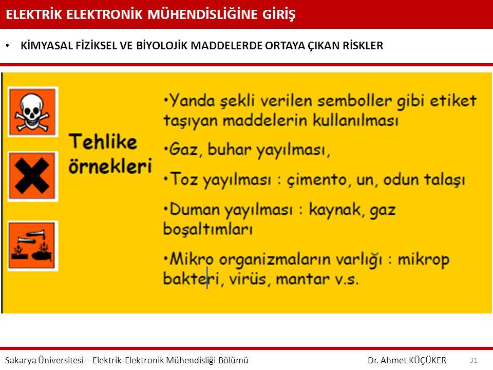 ELEKTRİK ELEKTRONİK MÜHENDİSLİĞİNE GİRİŞ Dr. Ahmet KÜÇÜKER Sakarya Üniversitesi - Elektrik-Elektronik Mühendisliği Bölümü 31 KİMYASAL FİZİKSEL VE BİYO