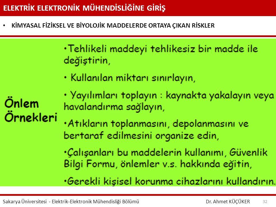 ELEKTRİK ELEKTRONİK MÜHENDİSLİĞİNE GİRİŞ Dr. Ahmet KÜÇÜKER Sakarya Üniversitesi - Elektrik-Elektronik Mühendisliği Bölümü 32 KİMYASAL FİZİKSEL VE BİYO