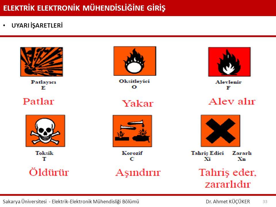 ELEKTRİK ELEKTRONİK MÜHENDİSLİĞİNE GİRİŞ Dr. Ahmet KÜÇÜKER Sakarya Üniversitesi - Elektrik-Elektronik Mühendisliği Bölümü 33 UYARI İŞARETLERİ
