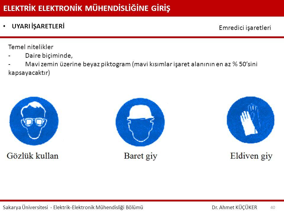 ELEKTRİK ELEKTRONİK MÜHENDİSLİĞİNE GİRİŞ Dr. Ahmet KÜÇÜKER Sakarya Üniversitesi - Elektrik-Elektronik Mühendisliği Bölümü 40 UYARI İŞARETLERİ Emredici
