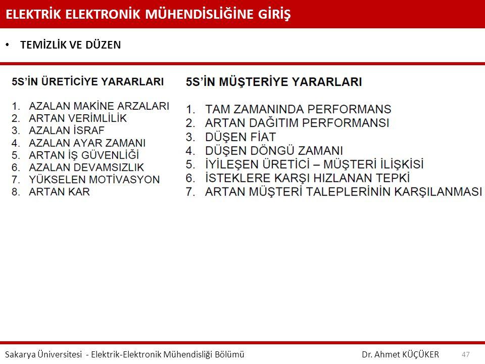 ELEKTRİK ELEKTRONİK MÜHENDİSLİĞİNE GİRİŞ Dr. Ahmet KÜÇÜKER Sakarya Üniversitesi - Elektrik-Elektronik Mühendisliği Bölümü 47 TEMİZLİK VE DÜZEN
