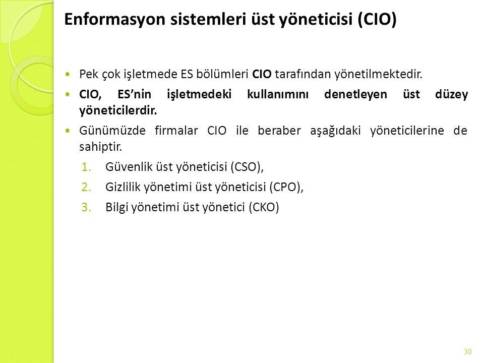Enformasyon sistemleri üst yöneticisi (CIO) Pek çok işletmede ES bölümleri CIO tarafından yönetilmektedir. CIO, ES'nin işletmedeki kullanımını denetle