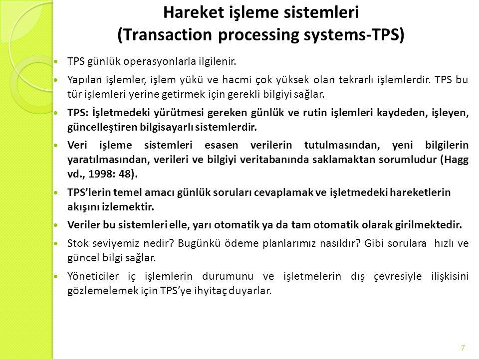 Hareket işleme sistemleri (Transaction processing systems-TPS) TPS günlük operasyonlarla ilgilenir. Yapılan işlemler, işlem yükü ve hacmi çok yüksek o