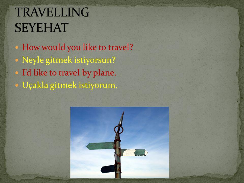 How would you like to travel? Neyle gitmek istiyorsun? I'd like to travel by plane. Uçakla gitmek istiyorum.