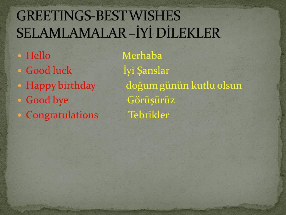 Hello Merhaba Good luck İyi Şanslar Happy birthday doğum günün kutlu olsun Good bye Görüşürüz Congratulations Tebrikler