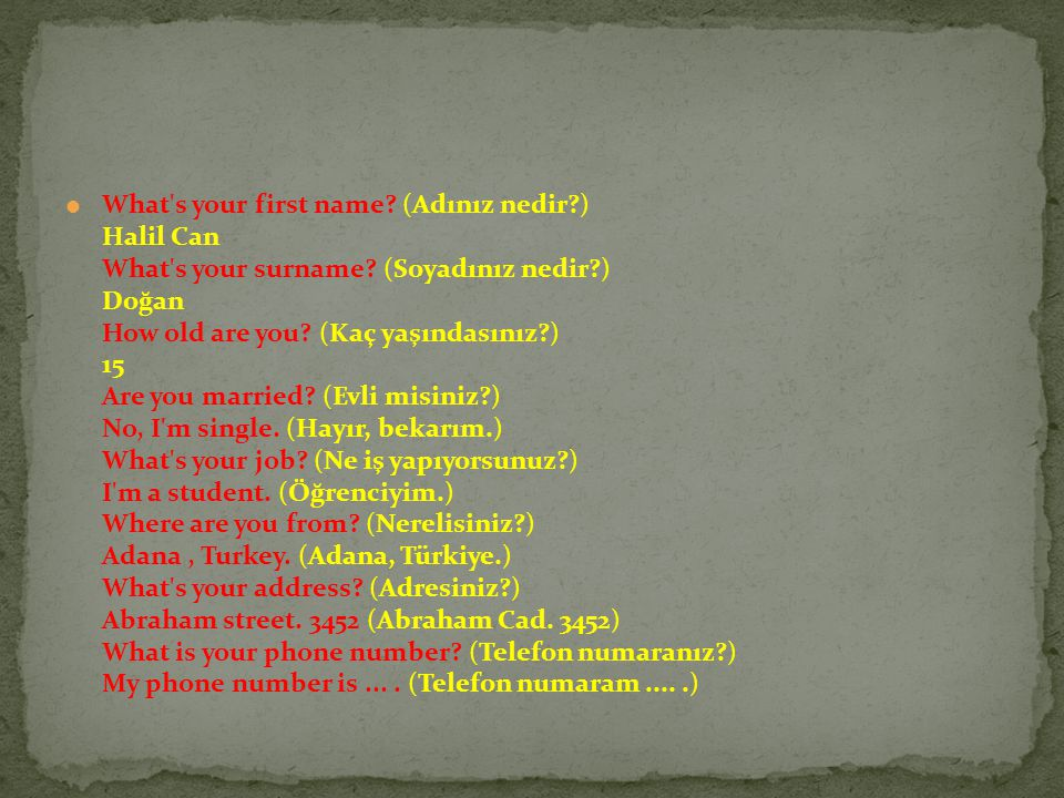 What s your first name.(Adınız nedir?) Halil Can What s your surname.