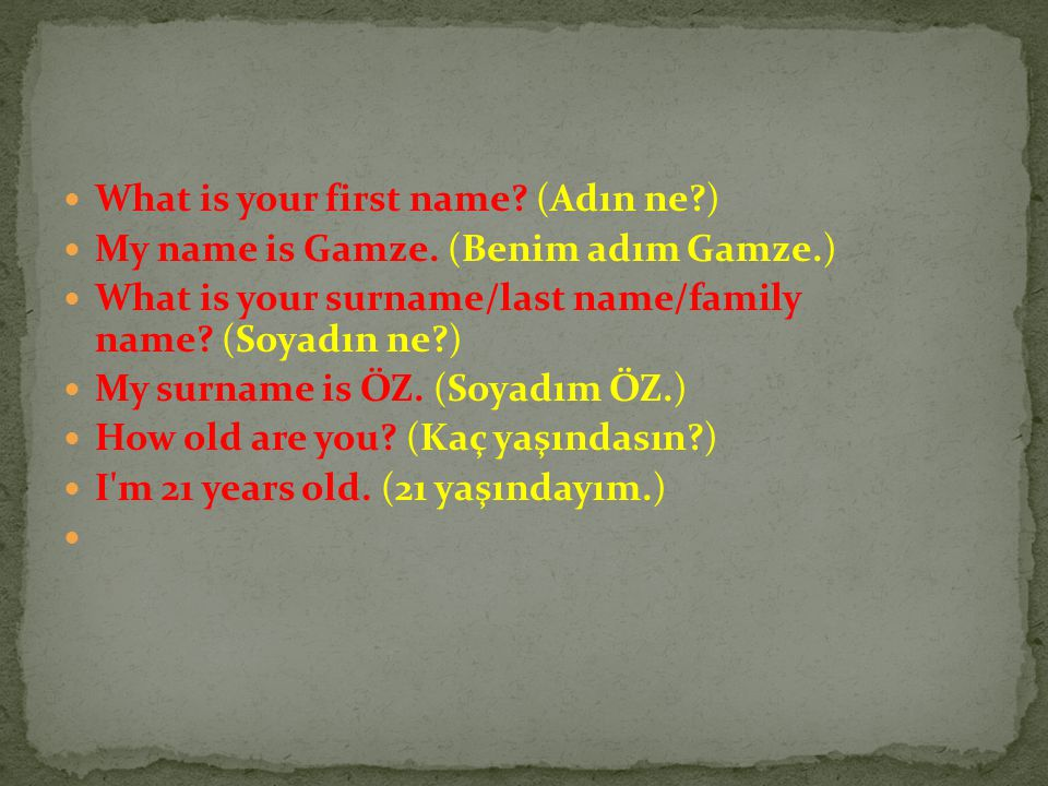 What is your first name.(Adın ne?) My name is Gamze.