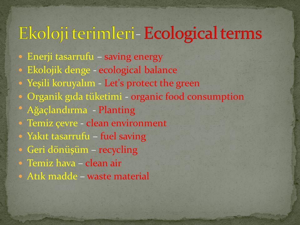 Enerji tasarrufu – saving energy Ekolojik denge - ecological balance Yeşili koruyalım - Let's protect the green Organik gıda tüketimi - organic food c