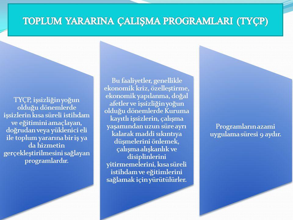 TYÇP, işsizliğin yoğun olduğu dönemlerde işsizlerin kısa süreli istihdam ve eğitimini amaçlayan, doğrudan veya yüklenici eli ile toplum yararına bir iş ya da hizmetin gerçekleştirilmesini sağlayan programlardır.