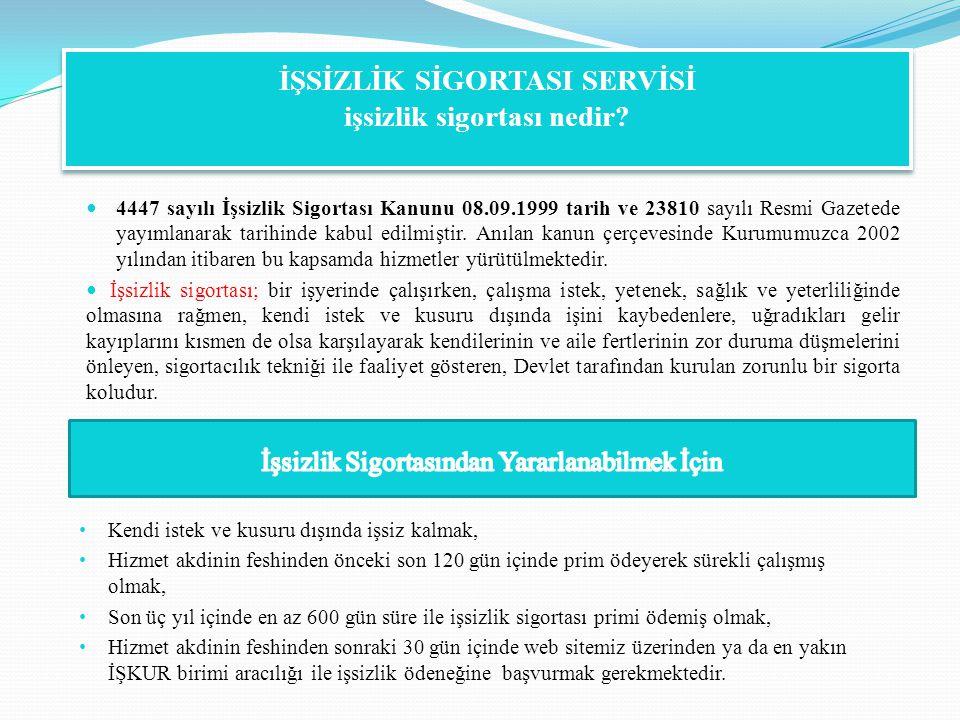 4447 sayılı İşsizlik Sigortası Kanunu 08.09.1999 tarih ve 23810 sayılı Resmi Gazetede yayımlanarak tarihinde kabul edilmiştir. Anılan kanun çerçevesin