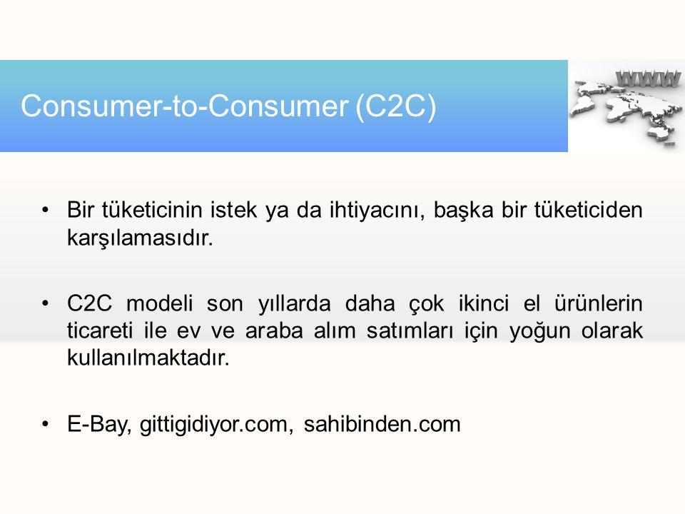 Bir tüketicinin istek ya da ihtiyacını, başka bir tüketiciden karşılamasıdır. C2C modeli son yıllarda daha çok ikinci el ürünlerin ticareti ile ev ve